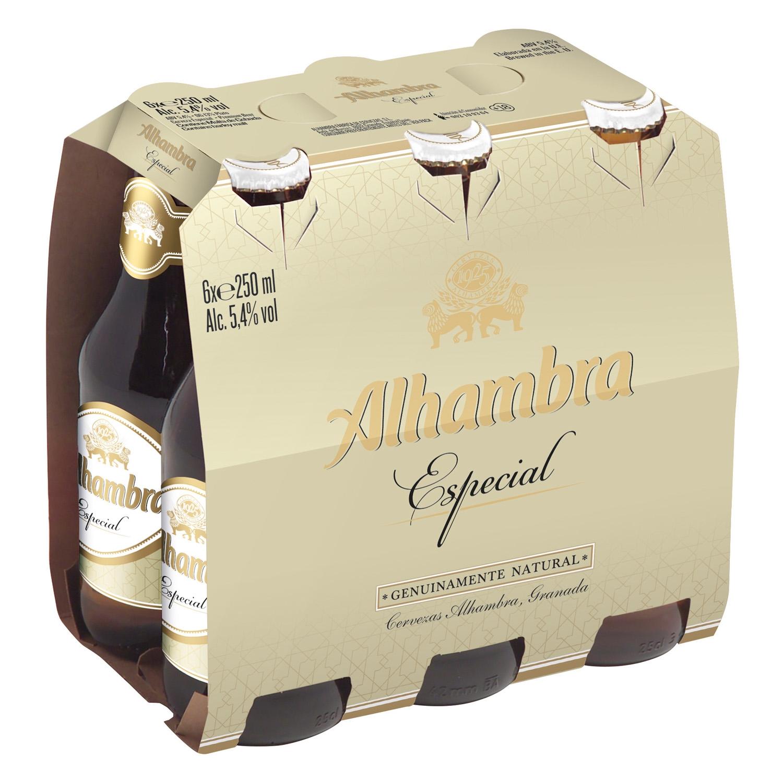 Cerveza Alhambra Lager especial pack de 6 botellas de 25 cl.