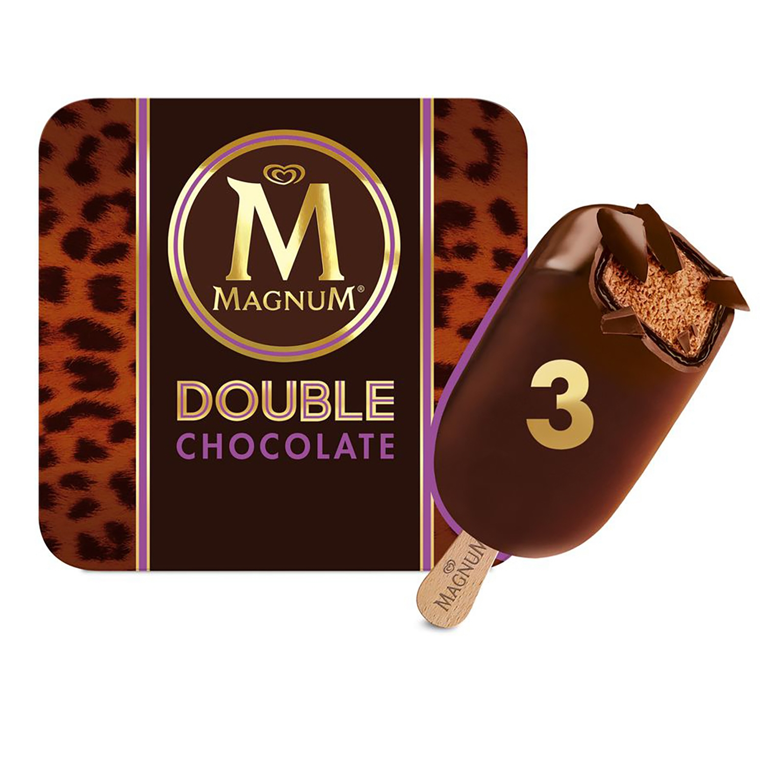 Bombón helado Double Chocolate Magnum 3 ud. -