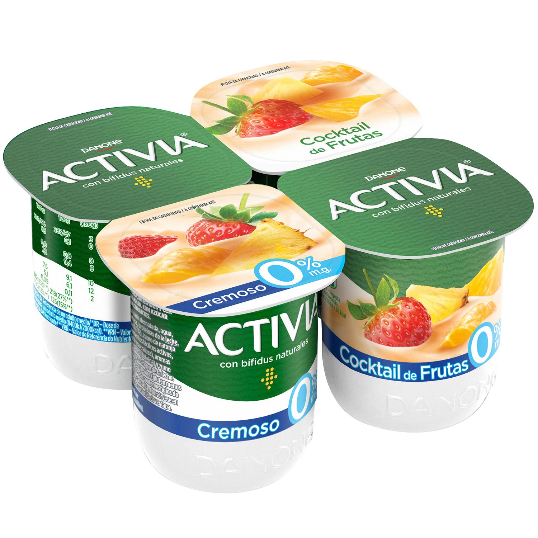 Yogur bífidus desnatado cremoso cocktail de frutas Danone Activia pack de 4 unidades de 120 g.