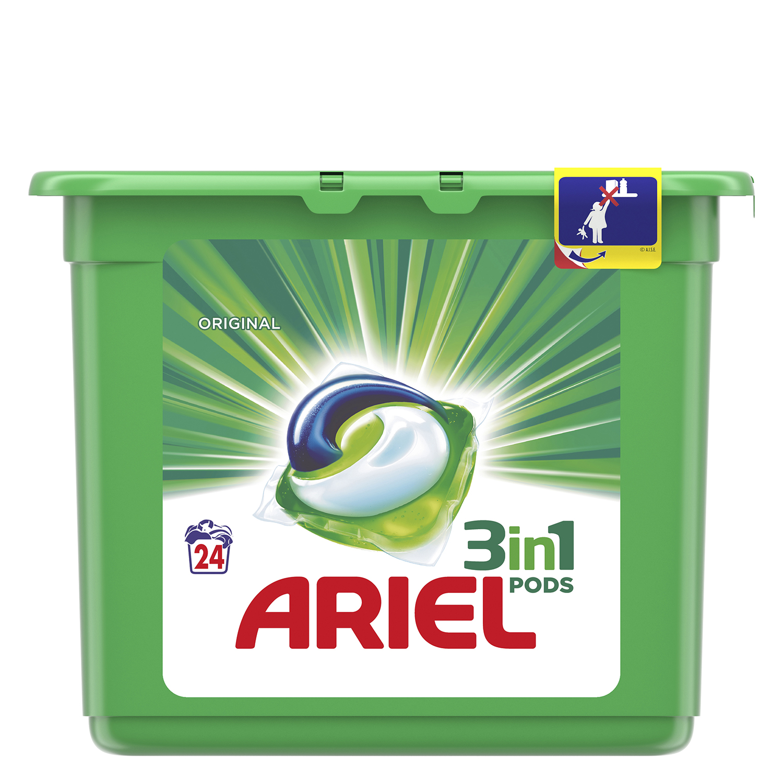 Detergente 3 en 1 en cápsulas Ariel 24 ud.