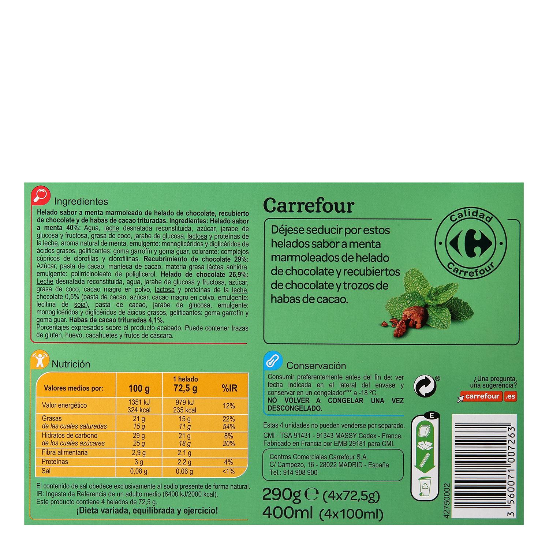 Bombón helado sabor menta con habas de cacao Carrefour 4 ud. -