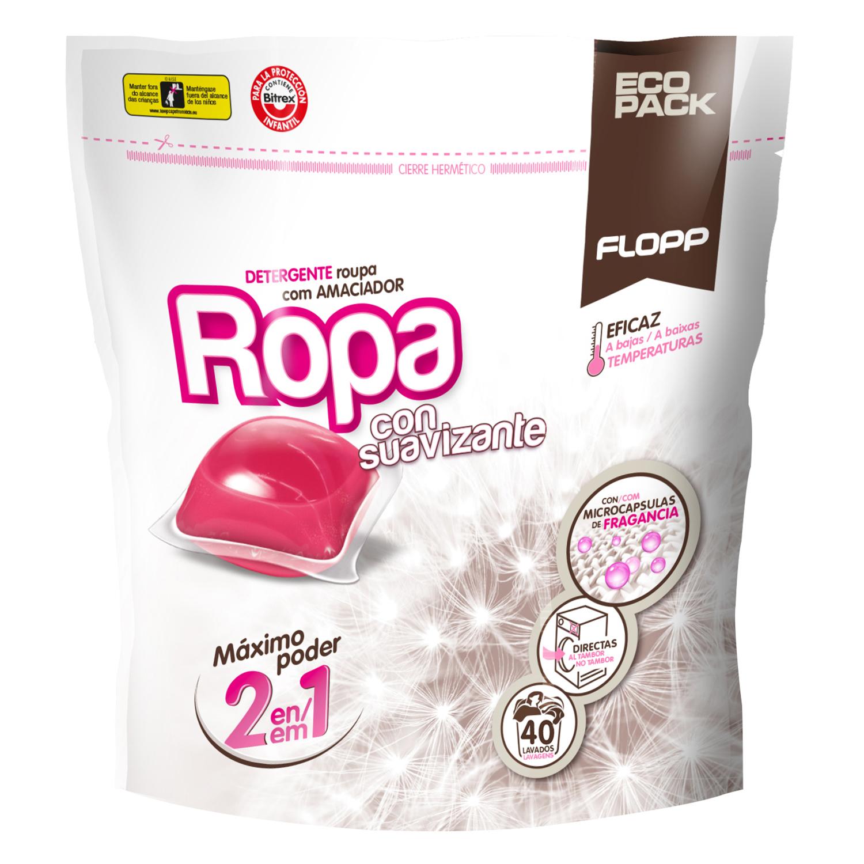Detergente con suavizante para todo tipo de ropa en cápsulas Flopp 40 lavados.