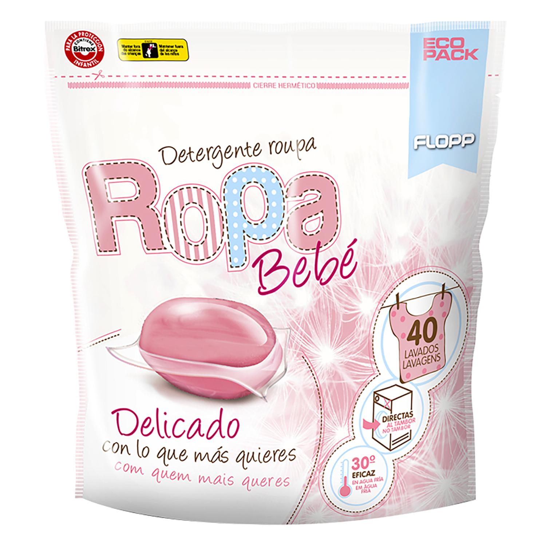 Detergente especial ropa bebé delicado en cápsulas Flopp 40 ud.