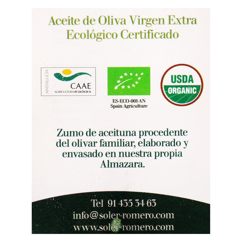 Aceite de oliva virgen extra ecológico Soler Romero 500 ml. - 2