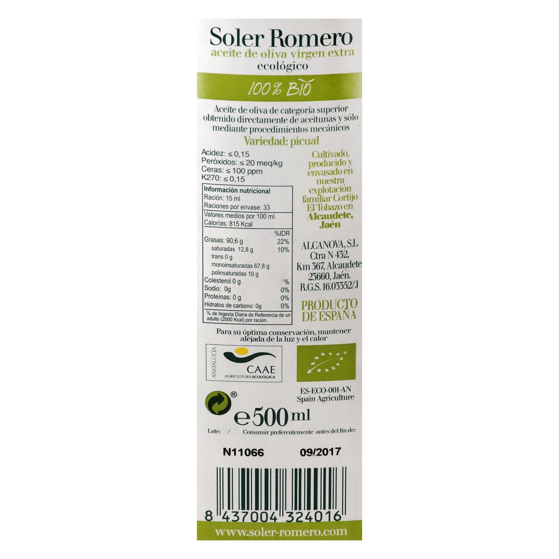 Aceite de oliva virgen extra ecológico Soler Romero 500 ml. - 3