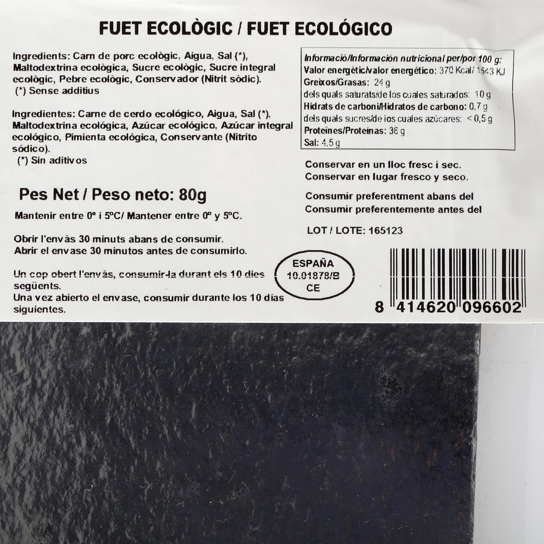 Fuet ecológico loncheado Embutidos Salgot 80 g - 2