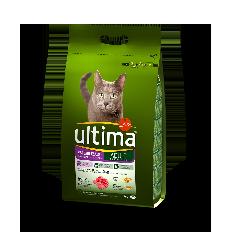 Ultima Pienso para Gato Adulto Esterilizado Sabor buey 3kg.