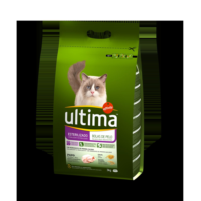 Ultima Pienso para Gato Esterilizado control bolas de Pelo Sabor Pavo 3kg.