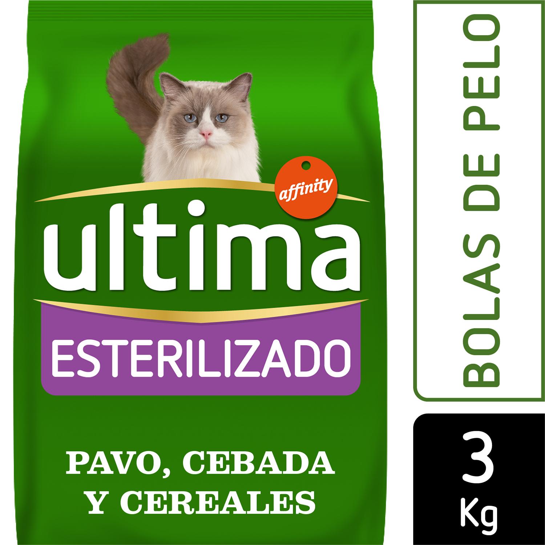 Ultima Pienso para Gato Esterilizado control bolas de Pelo Sabor Pavo 3kg. -