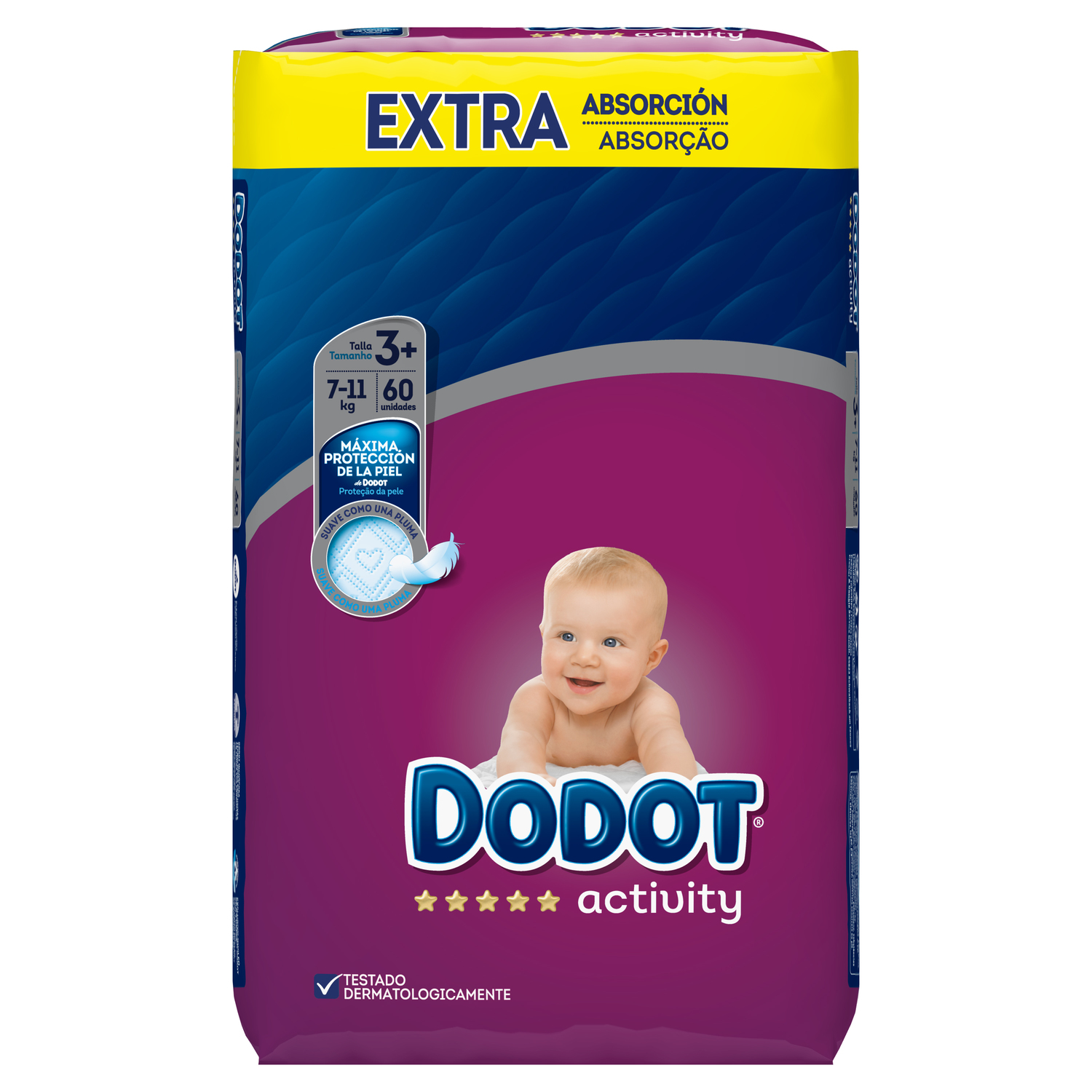 Pañales T3+ (7-11 kg.) Dodot Activity Extra 60 ud.