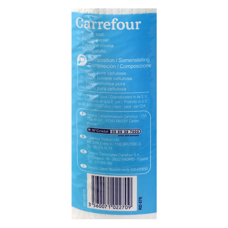 Papel de cocina Carrefour 4 rollos. -