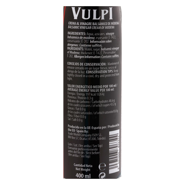 Vinagre balsámico Vulpi 400 ml. -