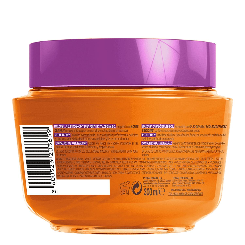 Mascarilla capilar Aceite Extraordinario para cabellos rizados, secos L'Oréal Elvive 300 ml. -