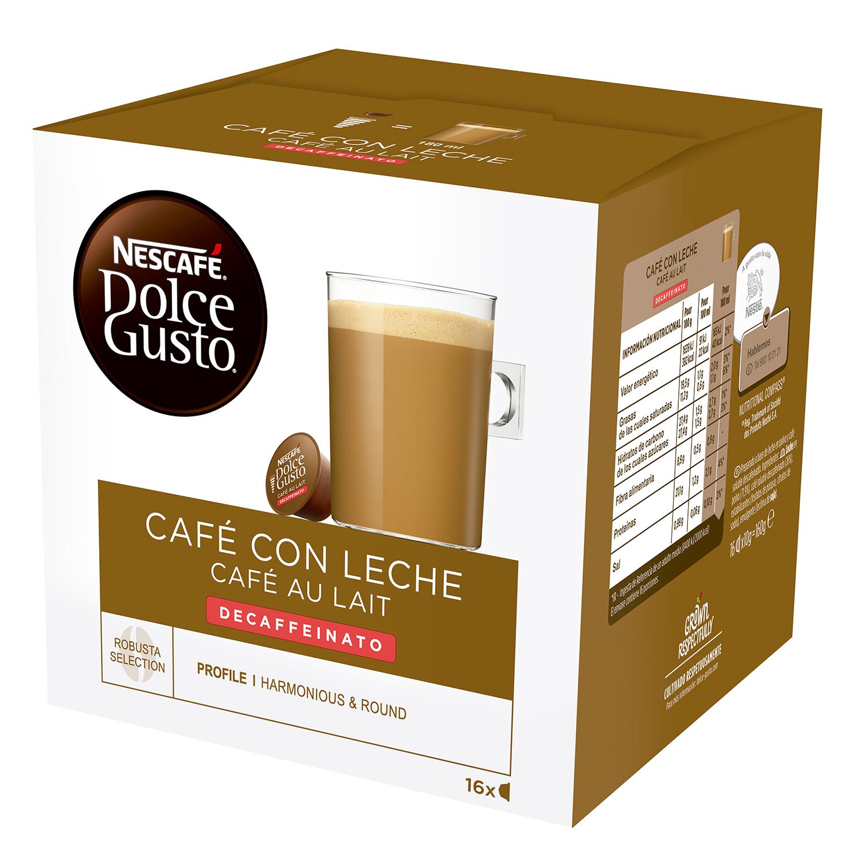 Café con leche descafeinado en cápsulas Nescafé Dolce Gusto 16 unidades de 10 g.