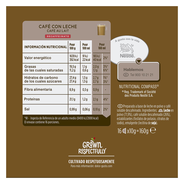Café con leche descafeinado en cápsulas Nescafé Dolce Gusto 16 unidades de 10 g. - 2