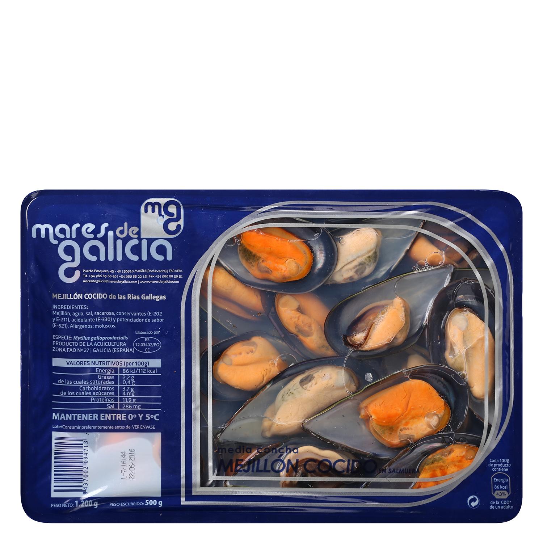 Mejillon media concha en salmuera Carrefour 500 g -