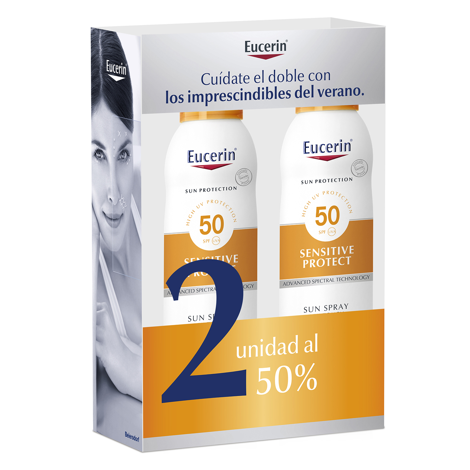 Duplo spray solar transparente Sensitive Protect FPS50 Eucerin 400 ml.