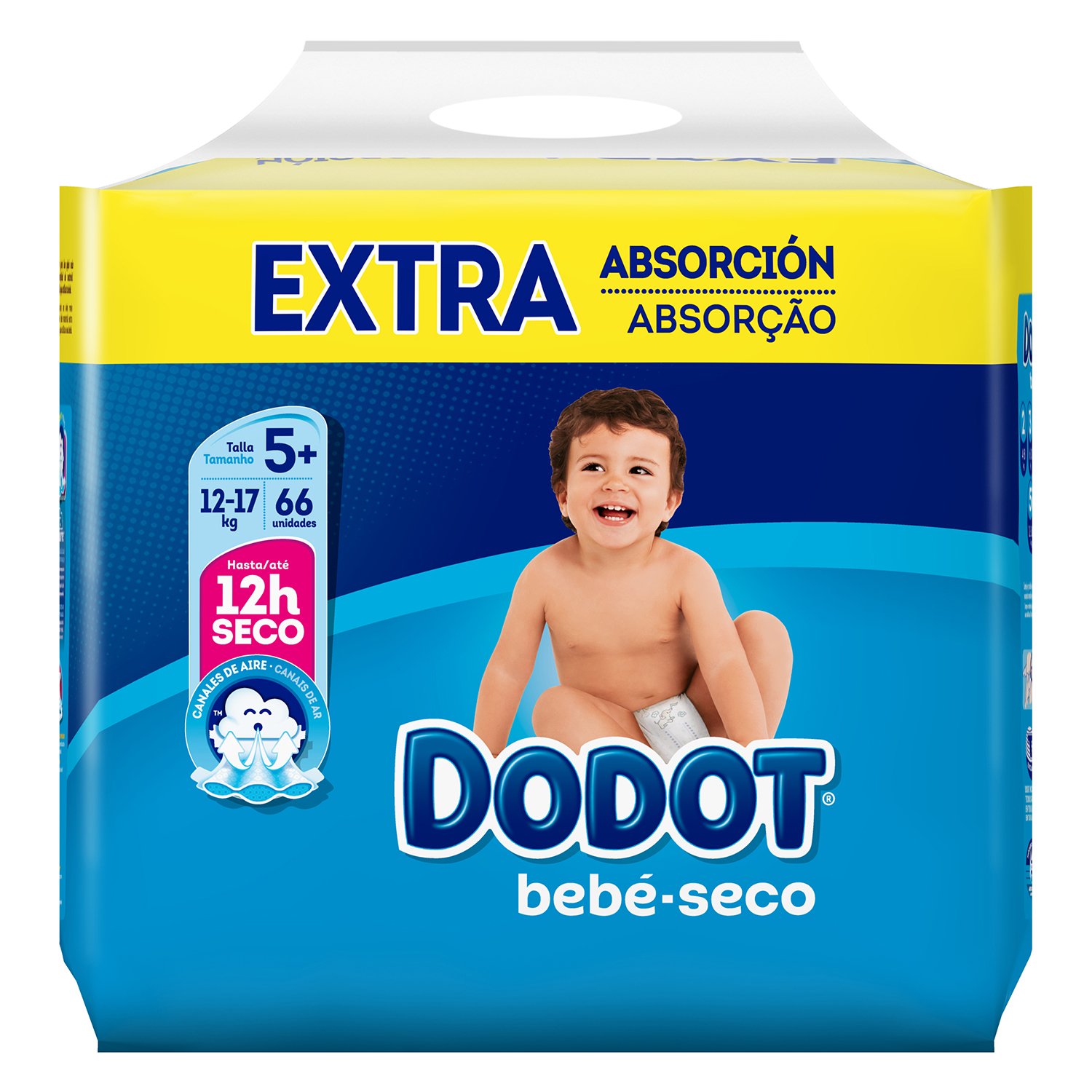 Pañales Dodot extra absorción T5+ (12kg-17kg.) 66 ud.