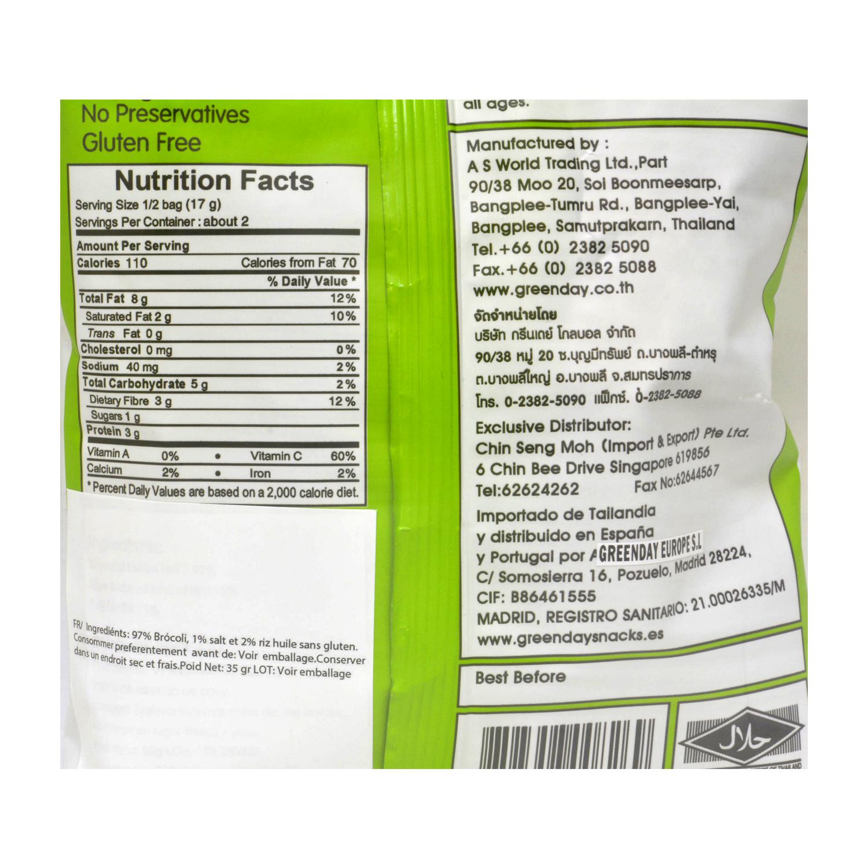 Aperitivo de brócoli Greenday sin gluten 35 g. -