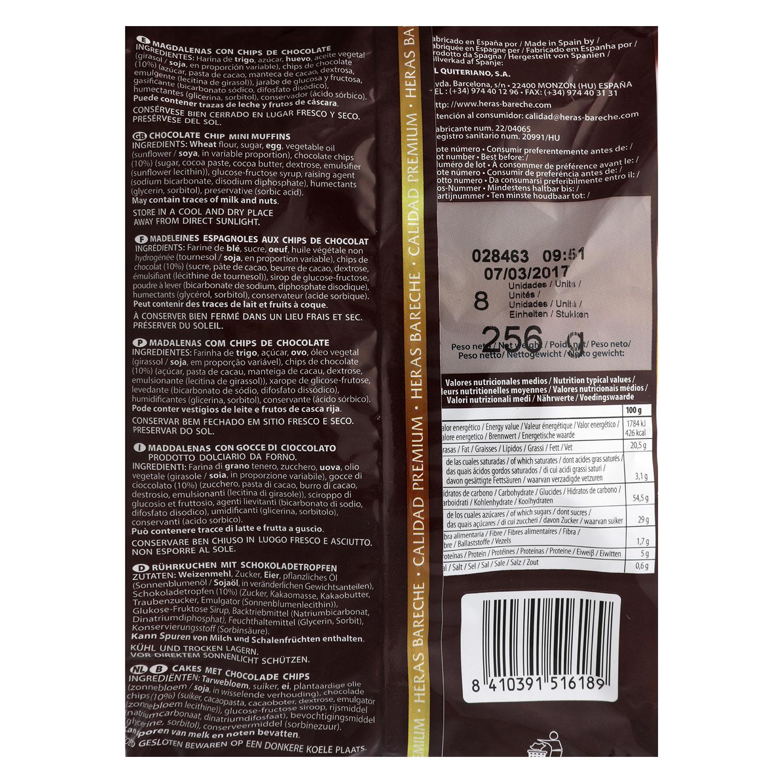Magdalenas Muffins con pepitas de chocolate Heras 256 g. -