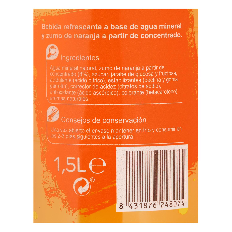 Agua mineral Carrefour con zumo de naranja 1,5 l. -
