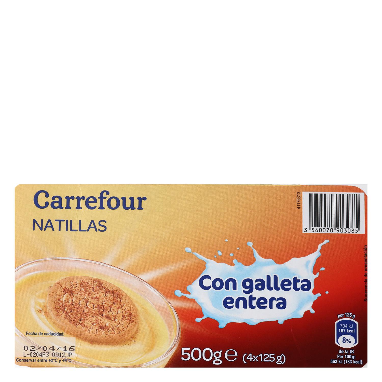 Natillas con galleta entera Carrefour pack de 4 unidades de 125 g. - 2