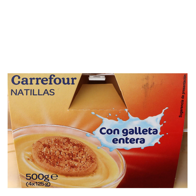 Natillas con galleta entera Carrefour pack de 4 unidades de 125 g. -