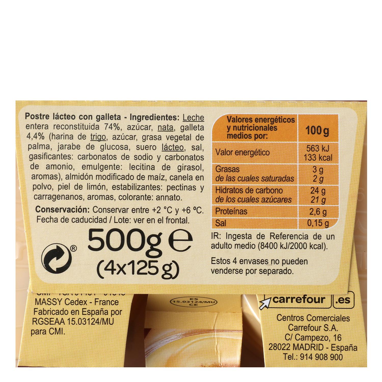Natillas con galleta entera Carrefour pack de 4 unidades de 125 g. - 3