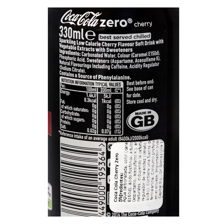 Refresco de cola Coca Cola zero sabor cereza lata 33 cl. -