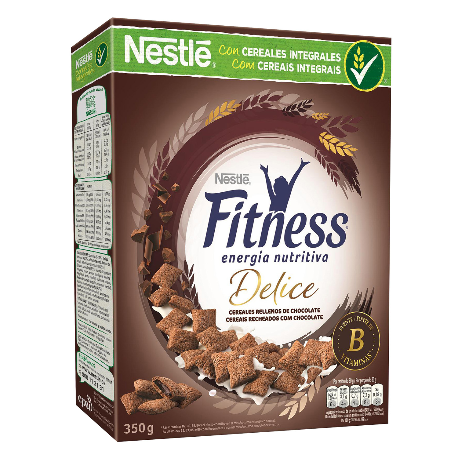 Cereales integrales con chocolate Fitness Nestlé 350 g.