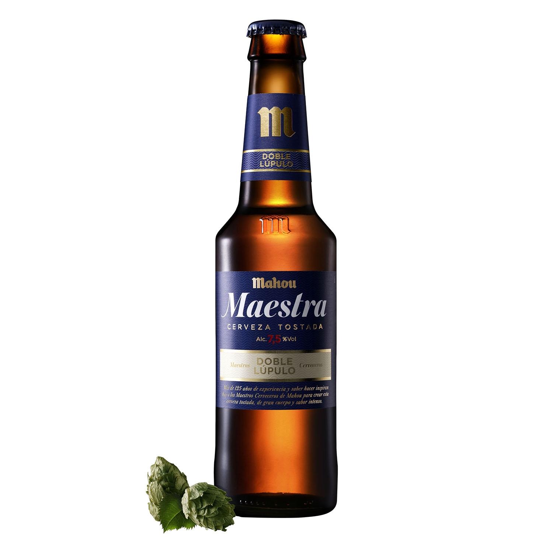 Cerveza Mahou Maestra tostada doble lúpulo botella 33 cl.