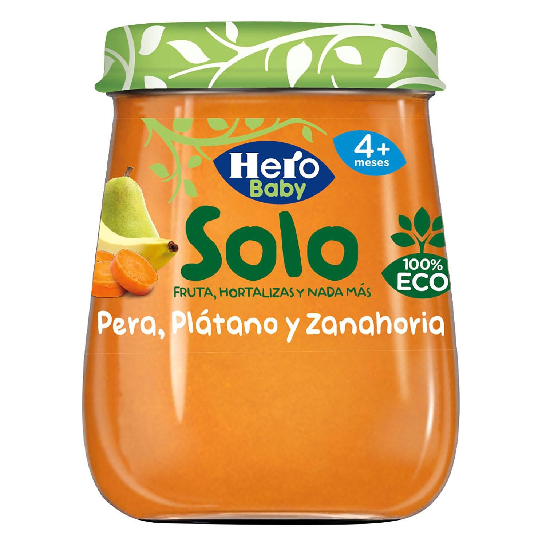 Tarrito de pera, plátano y zanahoria ecológico Hero Baby Solo 120 g.
