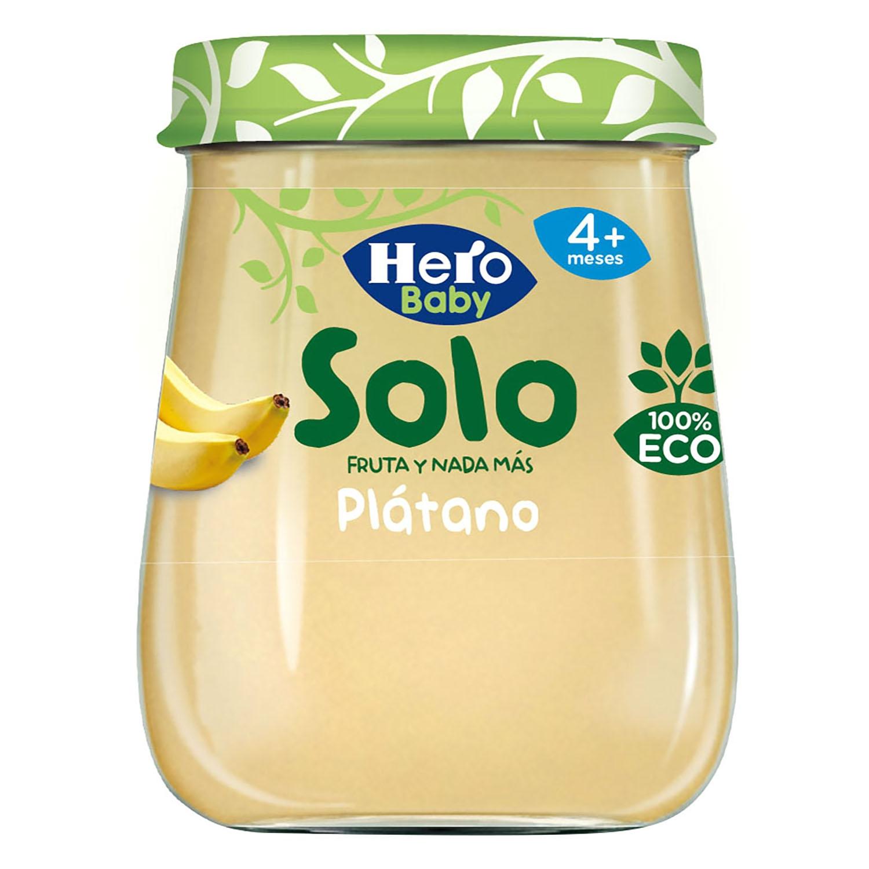 Tarrito de plátano ecológico Hero Baby Solo 120 g.