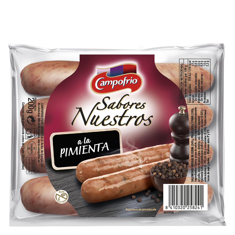 Salchicha cocida de cerdo, pavo y pollo a la pimienta Campofrío ...