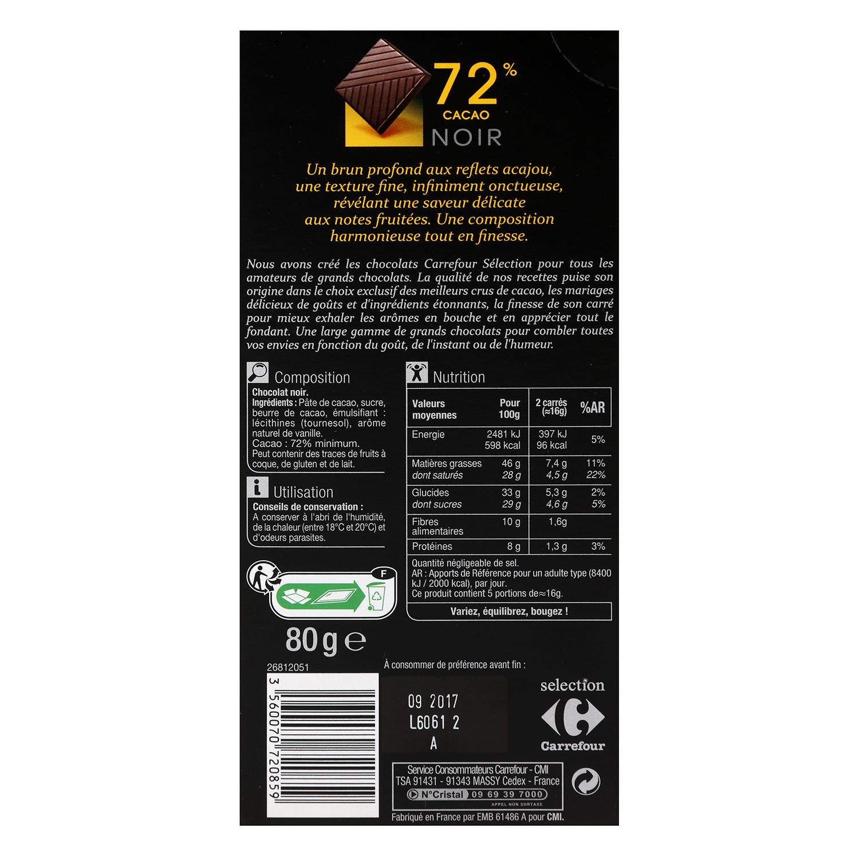 Chocolate negro 72% cacao -