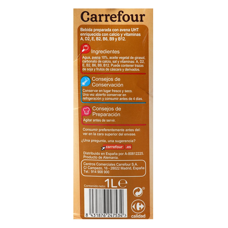 Bebida de avena Carrefour con calcio brik 1 l. -