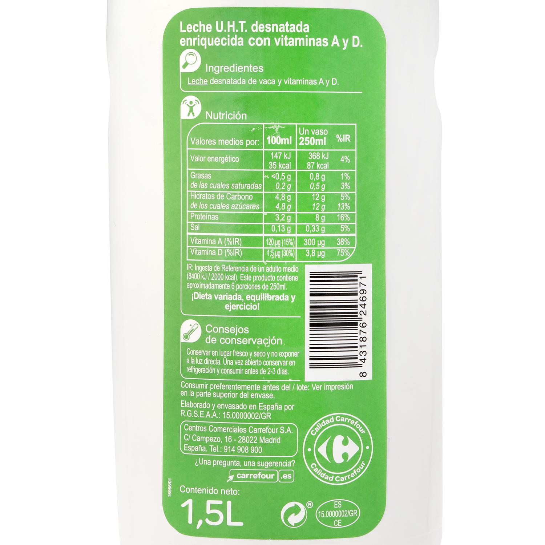 Leche desnatada Carrefour botella 1,5 l. -