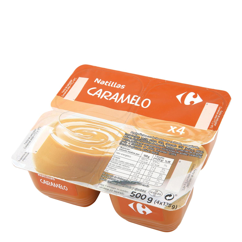 Natillas de caramelo Carrefour pack de 4 unidades de 125 g.