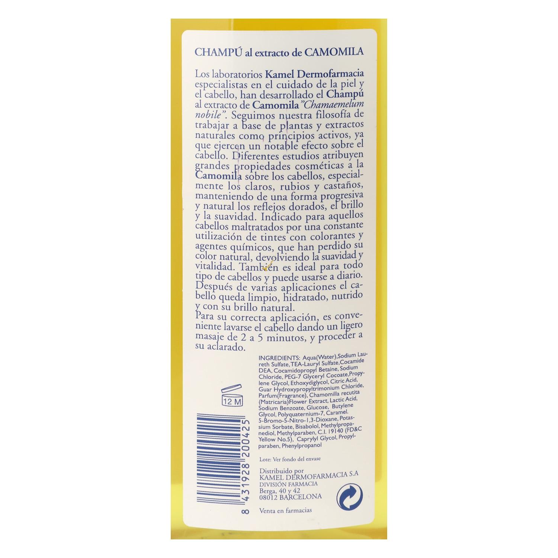 Champú al extracto de camomila para cabello rubio Kamel 500 ml. -