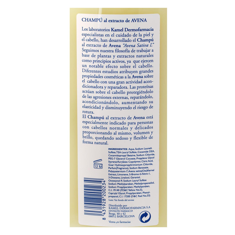Champú al extracto de avena para cabellos normales Kamel 500 ml. -