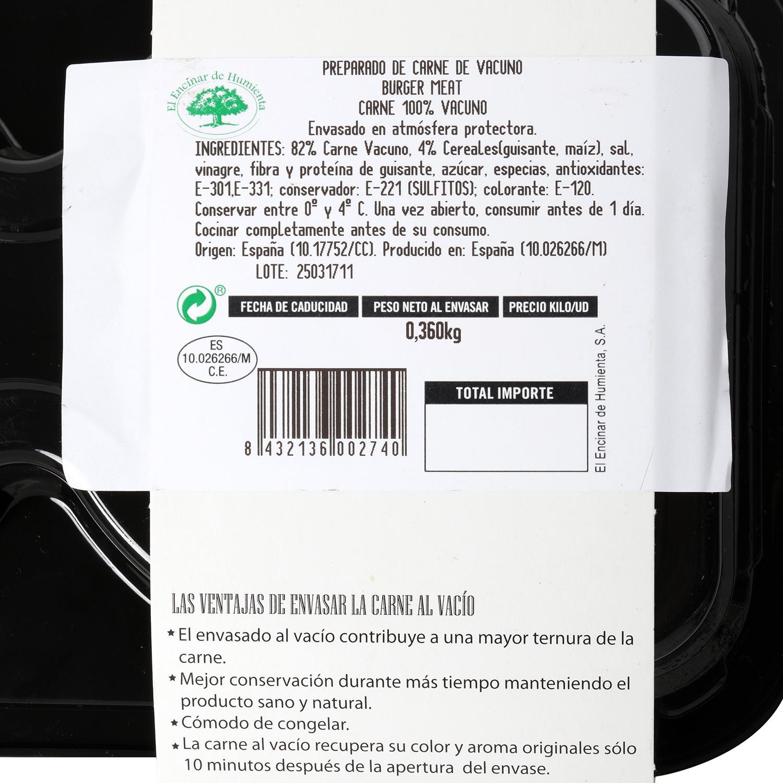 Hamburguesa de Vacuno Burguer Meat Master Lomo Extremadura El Encinar Humienta 360 g - 3