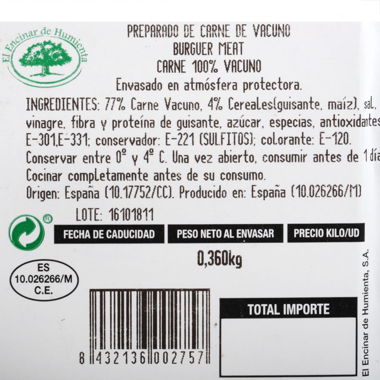 Hamburguesa de Vacuno Burguer Meat Original Extremadura El Encinar Humienta 360 g - 4