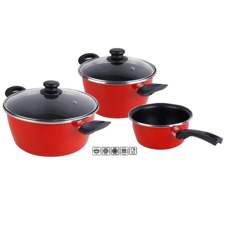 Bateria Cocina 5 pzs Acero Esmaltado Grana 24-20-16cm Roja