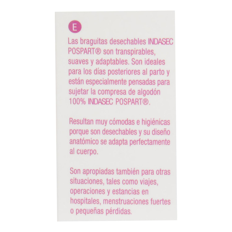 Braguitas desechables hipoalergénicas Indasec Pospart 4 ud. - 2
