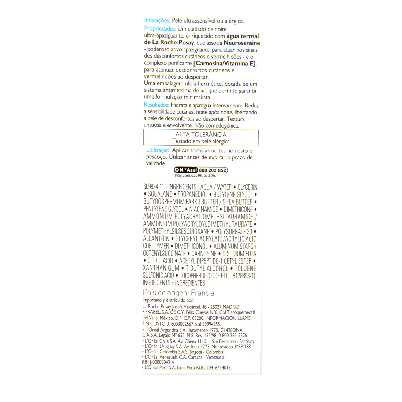 Crema Toleriane Ultra noche para rostro y ojos La Roche-Posay 40 ml. -