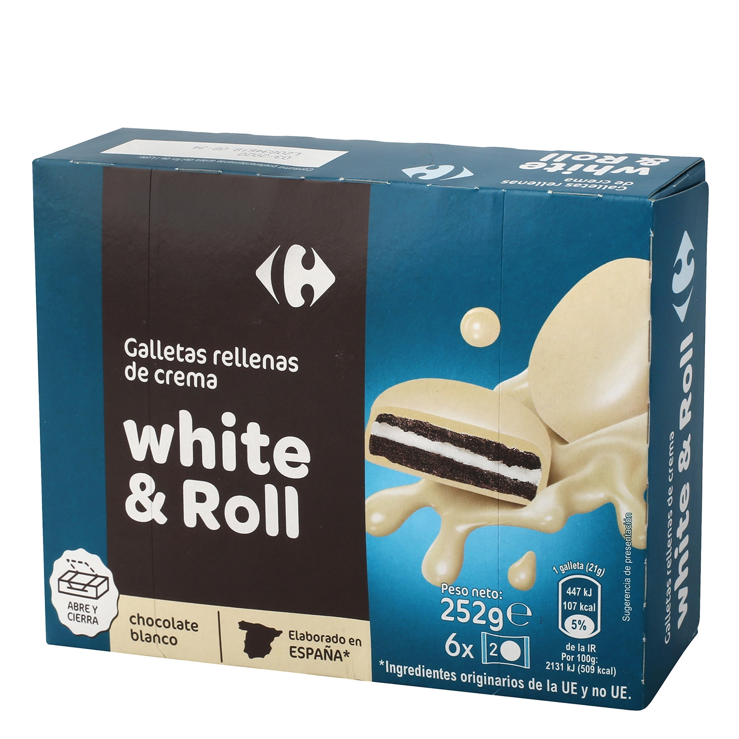 Galletas rellenas de crema con chocolate blanco Carrefour 252 g.