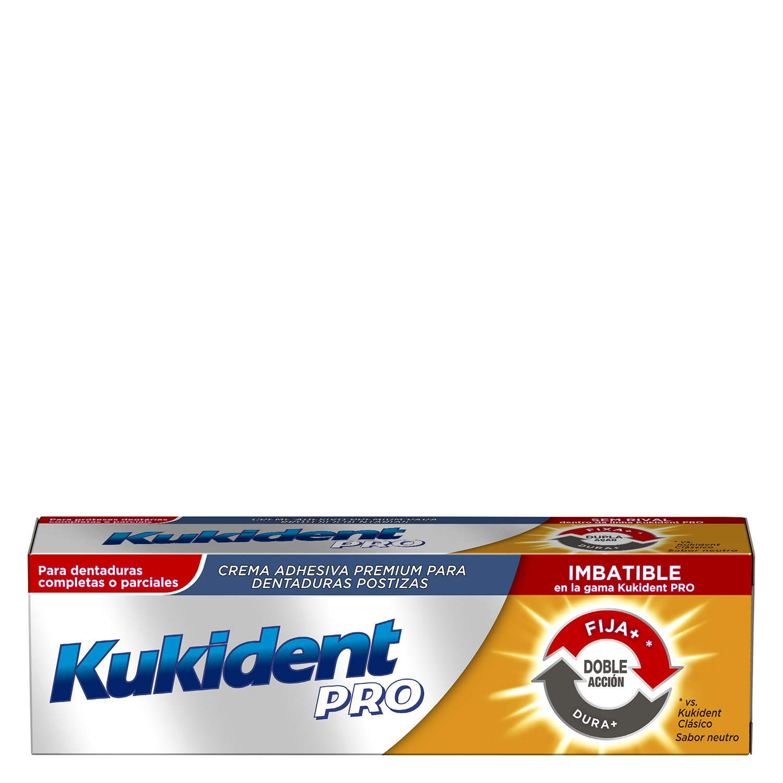 Crema adhesiva premium para dentaduras postizas Kukident 40 g.