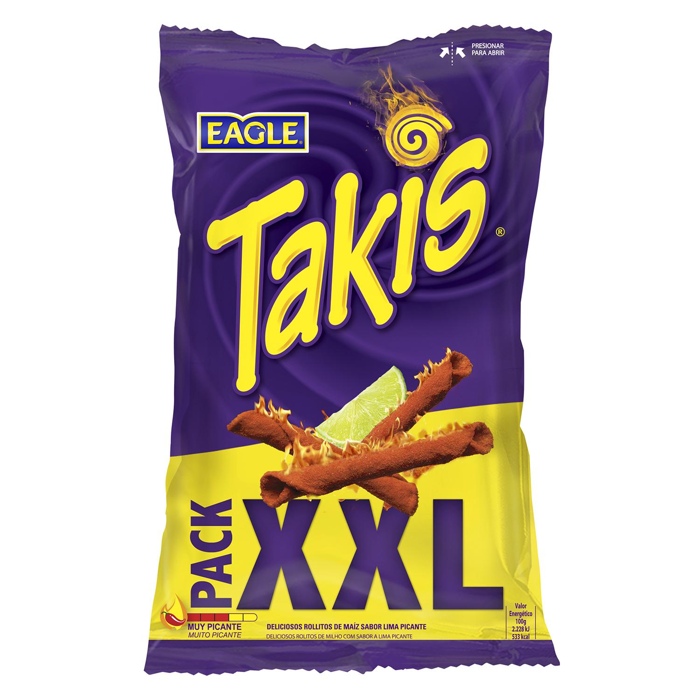 Aperitivo de maíz enrollado sabor lima picante Eagle Takis 150 g.