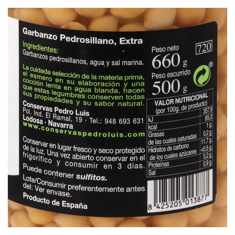 Garbanzo pedrosillano cocido  Pedro Luis 425 g. -