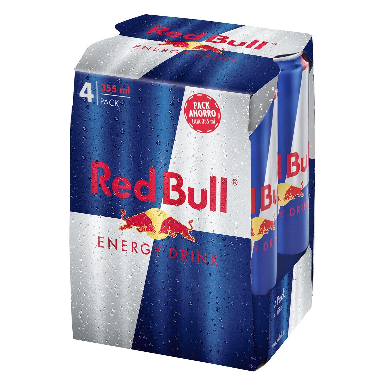 Bebida energética Red Bull pack de 4 latas de 35,5 cl.